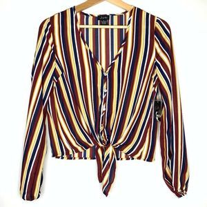 JUSTIFY Long Bubble Sleeve Tie Front Striped Top S